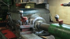 Old turning machinery working in craftsmanship Stock Footage
