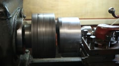 Operator turning part by manual lathe machine Stock Footage