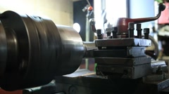 Cutting tool on vintage turning machine Stock Footage