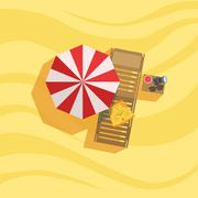 Swimshorts, Sunbed And Umbrella Spot On The Beach Composition Stock Illustration