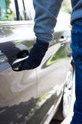 Car Thief Trying Door Handle To See If Vehicle Is Locked Kuvituskuvat