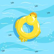 Toy Inflatable Duck Ring With Blue Sea Water On Background Stock Illustration
