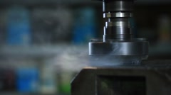 Old industrial milling machine cutting metal Stock Footage