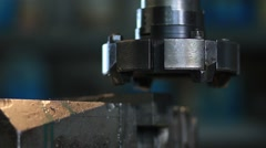 Milling machine tool with mill in chuck Stock Footage