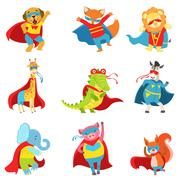 Animals Superheroes With Capes And Masks Set Stock Illustration