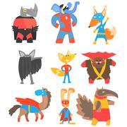 Animas Disguised As Superheroes Set Of Geometric Style Stickers Piirros