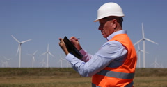 Wind Turbine Engineer Make a Written Report Using Agenda in a Daily Inspection Stock Footage