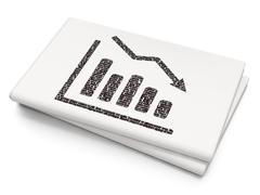Finance concept: Decline Graph on Blank Newspaper background Stock Illustration