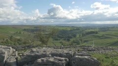 4K View From Peak of Malham Cove Cliff Lime Stone Rocks Trees Countryside Stock Footage