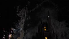 Fireworks around the famous castle. Disneyworld Florida, FL US USA Stock Footage