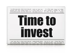 Timeline concept: newspaper headline Time To Invest Stock Illustration