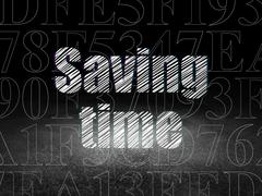 Timeline concept: Saving Time in grunge dark room Stock Illustration