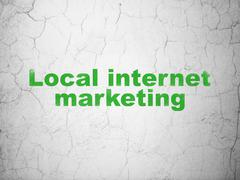 Advertising concept: Local Internet Marketing on wall background Stock Illustration