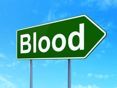Medicine concept: Blood on road sign background Piirros