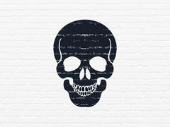 Health concept: Scull on wall background Stock Illustration
