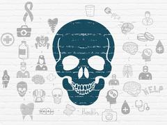 Healthcare concept: Scull on wall background Stock Illustration