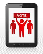 Politics concept: Tablet Pc Computer with Election Campaign on display Stock Illustration