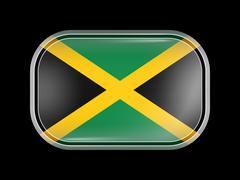 Flag of Jamaica. Rectangular Shape with Rounded Corners Stock Illustration