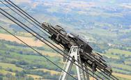 Big steel cables and pulleys with gears of the mountain cable car Stock Photos