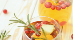 Rosemary cranberry white sangria with apples Stock Footage