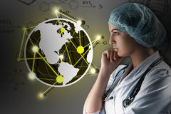Collage on scientific topics. Young female doctor standing against gray Stock Photos