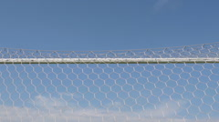 SLOW MOTION: Soccer gate (bottom view) Stock Footage