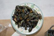 Plate of fresh mussels moules mariniere Stock Photos