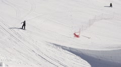 Snowboarder ride on springboard. Extreme sport. Sunny day. Ski resort. People Stock Footage
