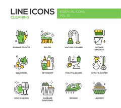 Cleaning - line design icons set Stock Illustration