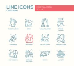 Cleaning - line design icons set Stock Illustration