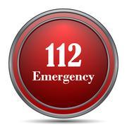 112 Emergency icon. Internet button on white background.. Stock Illustration