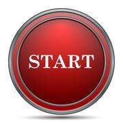 Start icon. Internet button on white background.. Piirros