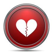 Broken heart icon. Internet button on white background.. Stock Illustration