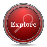 Explore icon. Internet button on white background.. Stock Illustration