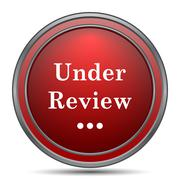 Under review icon. Internet button on white background.. Stock Illustration