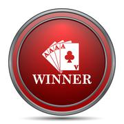 Poker winner icon. Internet button on white background.. Piirros
