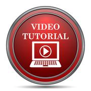 Video tutorial icon. Internet button on white background.. Stock Illustration