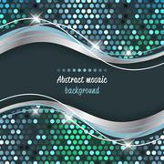 Abstract mosaic vector background with wave. Stock Illustration