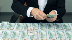 Many hundred us dollars. Successful man with lot of money Stock Footage