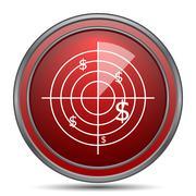 Radar searching money icon. Internet button on white background.. Stock Illustration