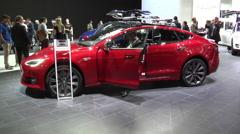 Tesla Model S P90D in Paris 2016 Stock Footage