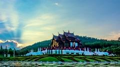 Royal Pavilion or Ho Kham Luang. Stock Footage