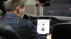 Tesla Model X Touch screen Stock Footage