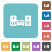 Flat stereo system icons Stock Illustration