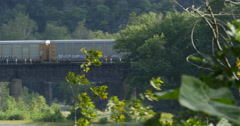 Train Passing Over Potomac River on Bridge in Harpers Ferry, 4K Stock Footage