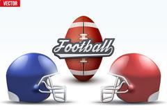 Football ball and helmets Stock Illustration
