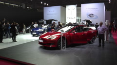 Tesla Model S P90D and Tesla Model X in Paris 2016 Stock Footage