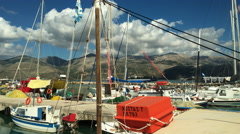 Fishing boats in Lixouri harbour on the Greek island of Kefalonia Stock Footage