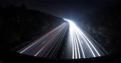 Highway at night, car lights, Timelapse, Kent, England, Ultra wide angle Stock Footage