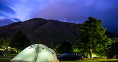 Tent and Mountain Night sky Timelapse, Camping, Ben Nevis, Scotland Stock Footage